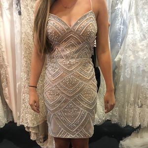 Jovani - 64598 Fully Beaded Homecoming Dress